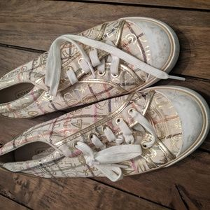 Coach gold print sneakers